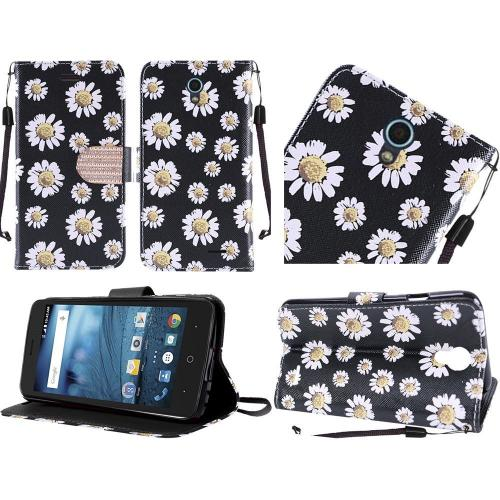 ZTE Avid Trio Case, Luxury Faux Leather Saffiano Texture Front Flip Cover Diary Wallet Case w/ Magnetic Flap [White Daisy on Black]