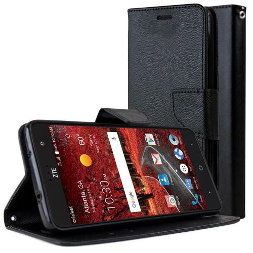 [ZTE Grand X 4] Diary Case, REDshield [Black] Kickstand Feature Luxury Faux Saffiano Leather Front Flip Cover with Built-in Card Slots, Magnetic Flap