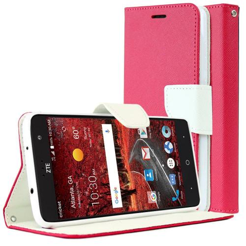 [ZTE Grand X 4] Diary Case, REDshield [Hot Pink/ White] Kickstand Feature Luxury Faux Saffiano Leather Front Flip Cover with Built-in Card Slots, Magnetic Flap
