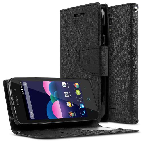 ZTE Obsidian Case, [Black] Faux Leather Front Flip Cover Diary Wallet Case w/ Magnetic Flap