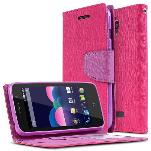 ZTE Obsidian Case, [Hot Pink/ Purple] Faux Leather Front Flip Cover Diary Wallet Case w/ Magnetic Flap