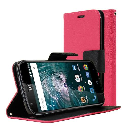 [ZTE Warp 7] Diary Case, REDshield [Hot Pink] Kickstand Feature Luxury Faux Saffiano Leather Front Flip Cover with Built-in Card Slots, Magnetic Flap