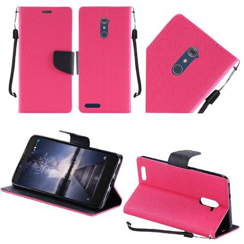 ZTE Z Max Pro Case, Luxury Faux Leather Saffiano Texture Front Flip Cover Diary Wallet Case w/ Magnetic Flap [Hot Pink/ Black]