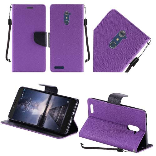 ZTE Z Max Pro Case, Luxury Faux Leather Saffiano Texture Front Flip Cover Diary Wallet Case w/ Magnetic Flap [Purple/ Black]