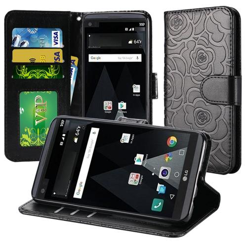 LG Aristo Case, Luxury Faux Leather Textured Rose Design Front Flip Cover Diary Wallet Case w/ Magnetic Flap [Black]