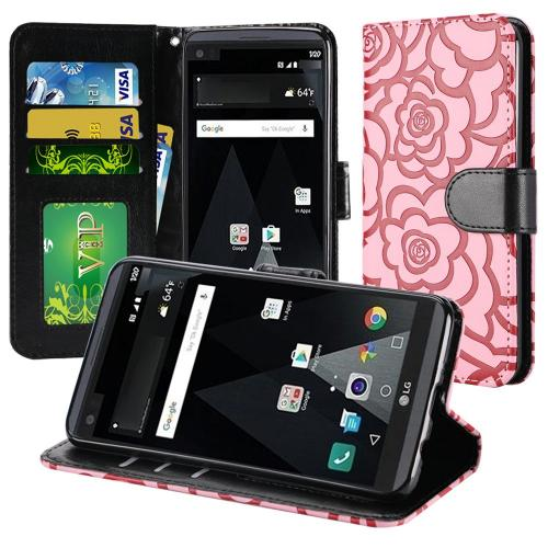 LG Aristo Case, Luxury Faux Leather Textured Rose Design Front Flip Cover Diary Wallet Case w/ Magnetic Flap [Baby Pink/ Black]
