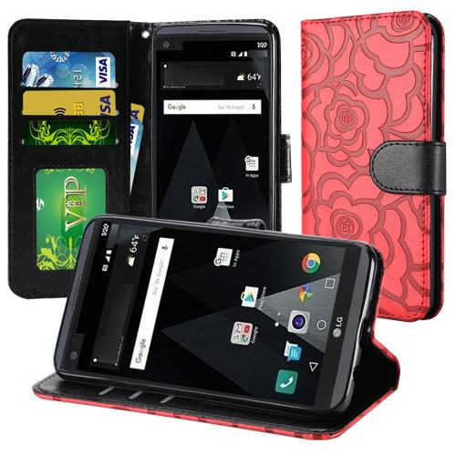 LG Aristo Case, Luxury Faux Leather Textured Rose Design Front Flip Cover Diary Wallet Case w/ Magnetic Flap [Red/ Black]