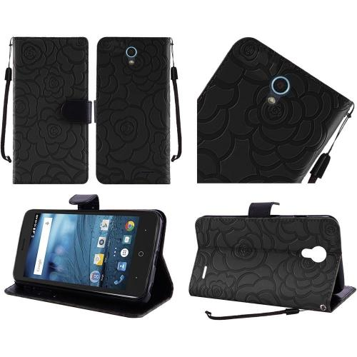 ZTE Avid Trio Case, Luxury Faux Leather Textured Rose Design Front Flip Cover Diary Wallet Case w/ Magnetic Flap [Black]