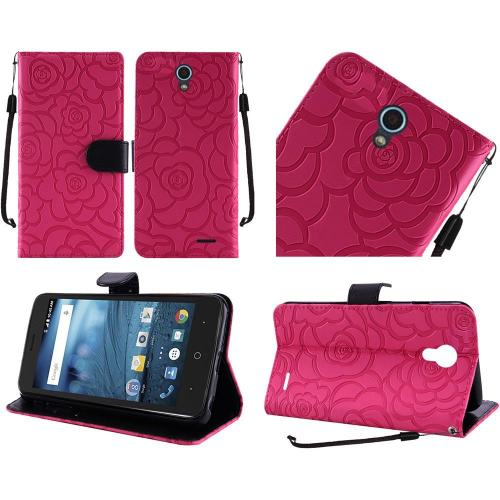 ZTE Avid Trio Case, Luxury Faux Leather Textured Rose Design Front Flip Cover Diary Wallet Case w/ Magnetic Flap [Hot Pink/ Black]