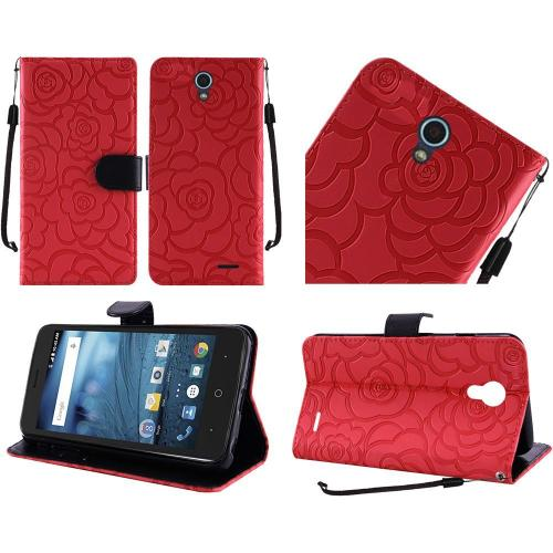 ZTE Avid Trio Case, Luxury Faux Leather Textured Rose Design Front Flip Cover Diary Wallet Case w/ Magnetic Flap [Red/ Black]