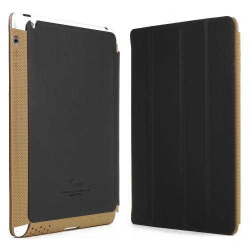 Black/ Brown iRoo LS-Series Faux Leather Slide-In Case w/ Smart Cover for Apple iPad 2/3/4