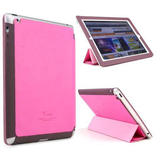 Hot Pink/ Maroon iRoo LS-Series Faux Leather Slide-In Case w/ Smart Cover for Apple iPad 2/3/4