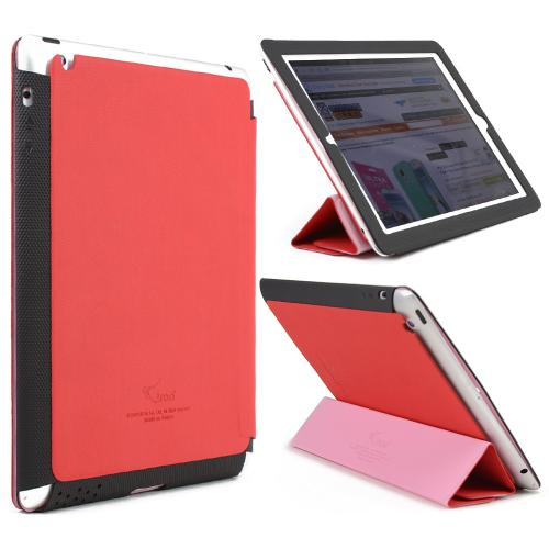 Red/ Black iRoo LS-Series Faux Leather Slide-In Case w/ Smart Cover for Apple iPad 2/3/4