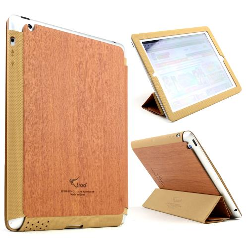 Wood Grain/ Brown iRoo LS-Series Faux Leather Slide-In Case w/ Smart Cover for Apple iPad 2/3/4