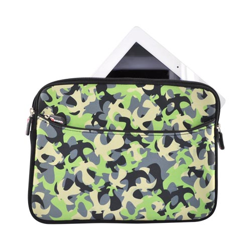 Premium Apple iPad 1st/2nd Gen Nylon Sleeve Case w/ Zipper and Front Pocket - Green Camoflauge