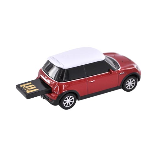 Original DBLY AutoDrive 4GB Flash Drive w, USB Extension Cable, LW1101-R4 - Red Mini Cooper