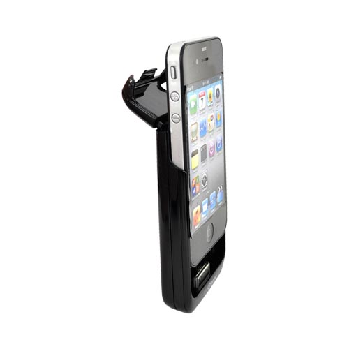 Original Powermat myCharge Apple iPhone 4S, AT&T/Verizon iPhone 4 Battery Charging Case, MAC4-1500FBK - Black (1500mAh)