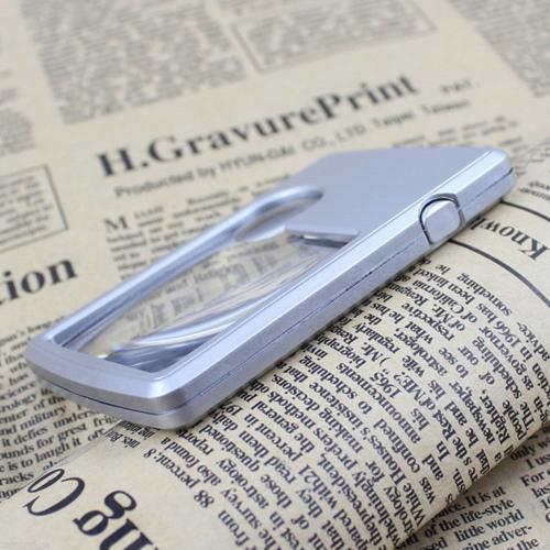 Pocket Magnifier Credit Card Size Reading Magnifying Glass with LED Light [Silver]