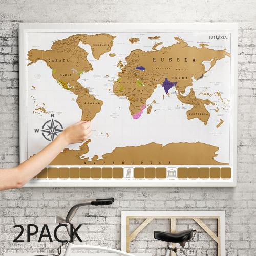 Travel Scratch World Map (34x20 inch) - Track Places Where You've Been To! [2 PK]