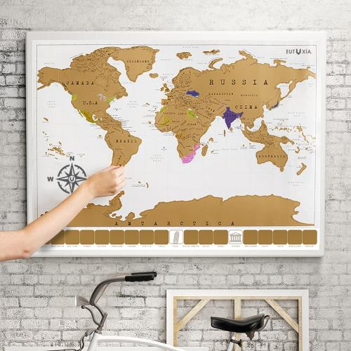 Eutuxia Travel Scratch World Map (34x20 inch) - Track Places Where You've Been To!