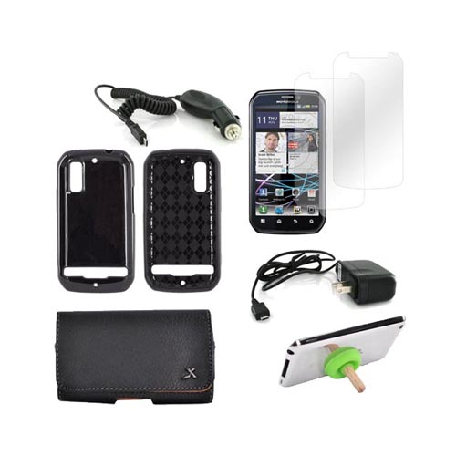 Motorola Photon 4G Essential Bundle Package w/ Black Crystal Silicone Case, 2 Pack Screen Protector, Leather Pouch, Car & Travel Charger, & Green Plunger Stand