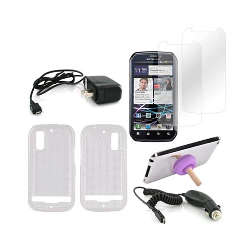 Motorola Photon 4G Essential Bundle Package w/ Clear Crystal Silicone Case, 2 Pack Screen Protector, Car & Travel Charger, & Purple Plunger Stand