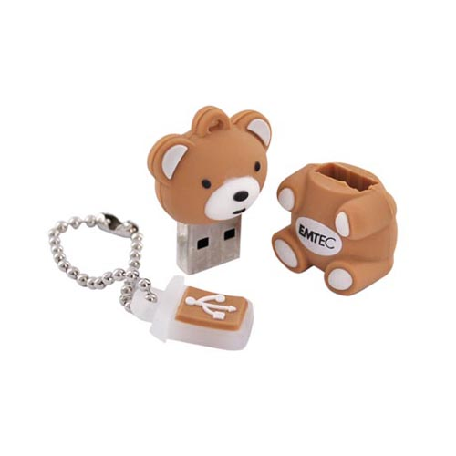 Memory Storage Essential Bundle Package w/ 4 Port Robot USB Hub & EMTEC 4GB Teddy Bear Flash Drive