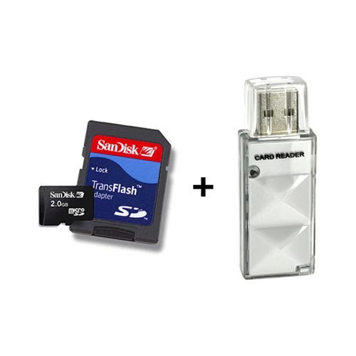 Original Sandisk 2GB Micro SD Memory Card w, SD Adapter & Memory Card Reader Combo