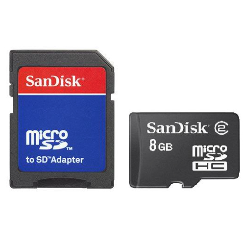 SanDisk 8GB Micro SDHC Memory Card w, SD Card Adapter