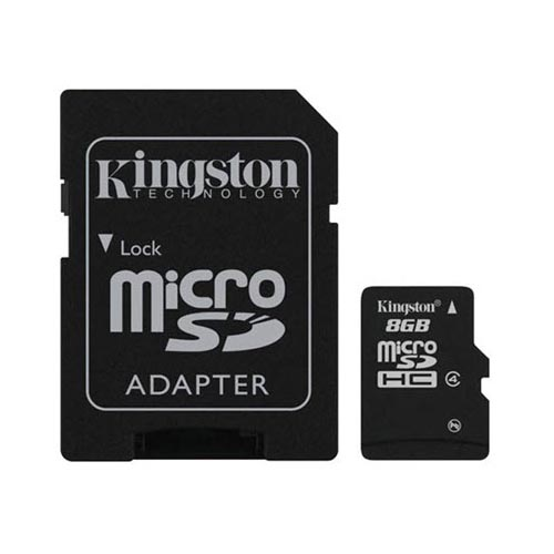 Kingston 8GB Micro SDHC Memory Card w, SD Adapter