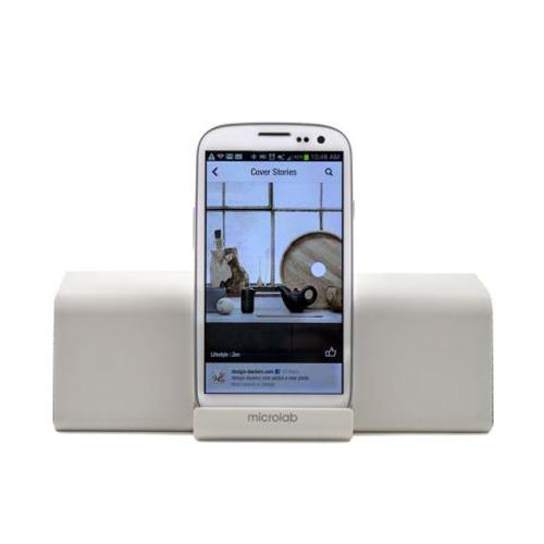 Microlab White Portable Bluetooth Stereo Speaker w/ Mic, Rechargeable Battery & 3.5mm Port - MD212