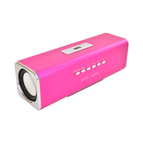 Universal Metal Mini Speaker w/ USB/ Micro SD/ 3.5mm Ports & FM Radio - Hot Pink