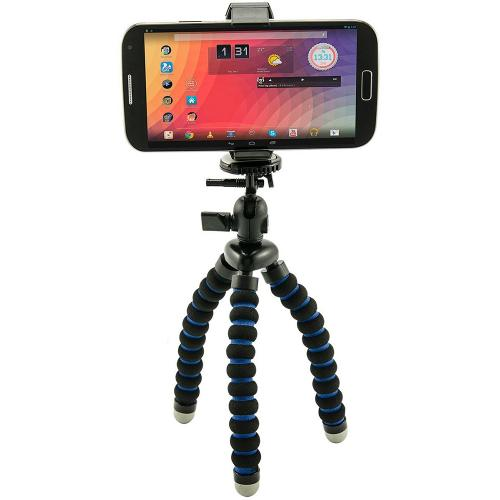 Arkon Black Mobile Grip 2 - Mini Tripod Phone Holder (MG002 + CMPTRI + CAM-POUCH + AP142017MM + SP-SB-RING)