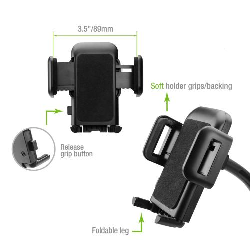 Macally mGrip Window Suction Cup Mount for iPhone, iPod, Cell Phone, MP4, GPS, and PDA - Black