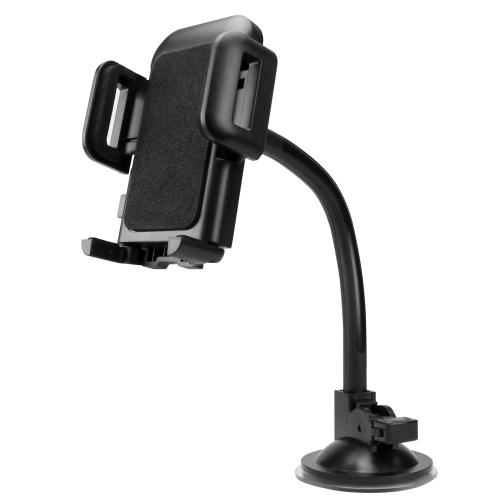 Universal Windshield Dashboard Car Mount for Smartphones up to 3.5-Inch Wide, Fixing Plate Included [Black]