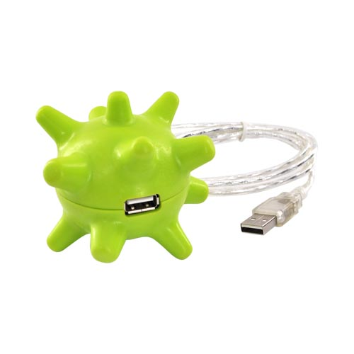 Huggable 3 USB Hub Port w, USB extension cable – Green Spiky Ball