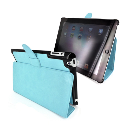 Original Kroo Apple iPad 2/ New iPad Tri-Pad Shell Leather Stand Case w/ Leather Strap Closure - Sky Blue