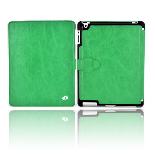 Original Kroo Apple iPad 2/ New iPad Tri-Pad Shell Leather Stand Case w/ Leather Strap Closure - Aquamarine
