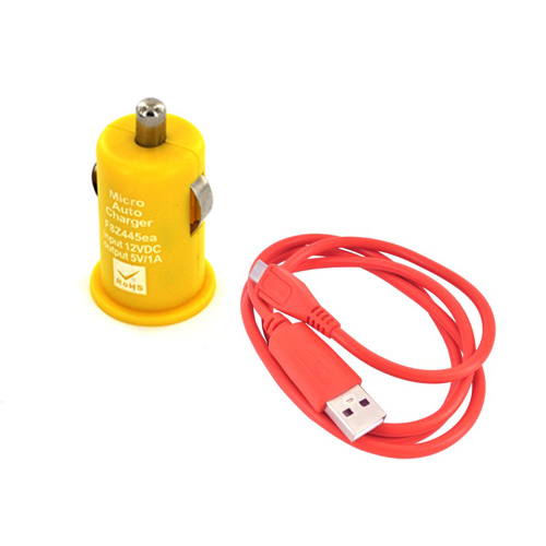 Micro USB School Spirit Charging Bundle w/ Red Micro USB Charge/ Sync Data Cable & Yellow USB Car Charger Adapter