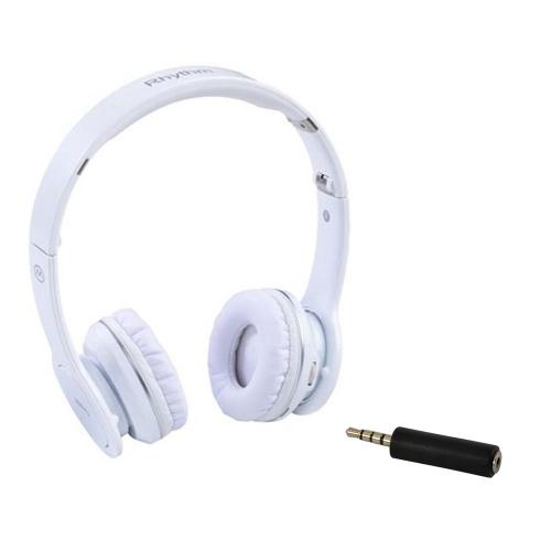 Original MiiKey Universal Wireless Rhythm High Definition Collapsible Bluetooth Headset (2.5mm) Bundle w/ 2.5MM (Female) to 3.5mm (Male) Adapter - White