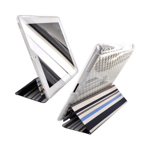 Original Kroo USA Apple iPad 2nd Gen Crystal Silicone Case w/ Hard Front Cover, MIP2TFB1 - Blue Stripes