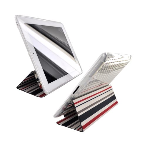 Original Kroo USA Apple iPad 2nd Gen Crystal Silicone Case w/ Hard Front Cover, MIP2TFR1 - Red/Black Stripes
