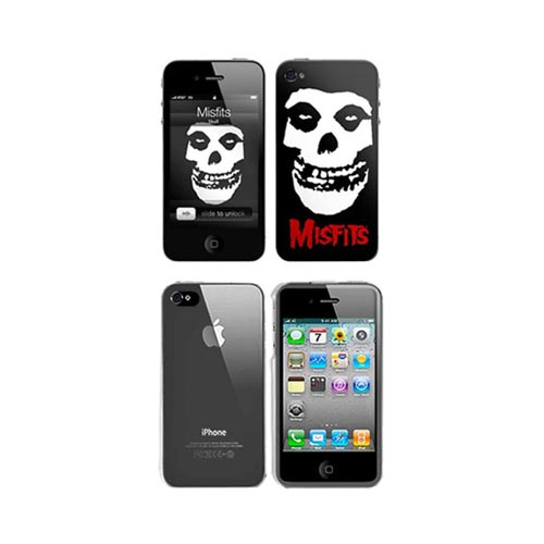 iPhone 4, iPhone 4S Music Skins Bundle Package w/ Misfits Crimson Ghost & iPhone 4, iPhone 4S Clear Hard Case