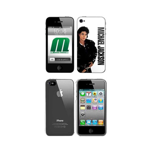 iPhone 4, iPhone 4S Music Skins Bundle Package w/ Michael Jackson Bad & iPhone 4, iPhone 4S Clear Hard Case