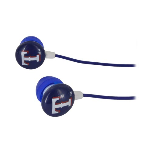 Original iHip Universal MLB Licensed Texas Rangers Noise Isolating Earbuds (3.5mm), MLF10169TX - Red/ White/ Blue