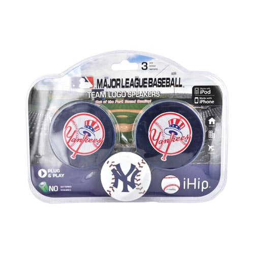 Original iHip MLB Licensed New York Yankees Portable Spherical Speakers (3.5mm), MLV4000NYY - Blue/ White/ Red