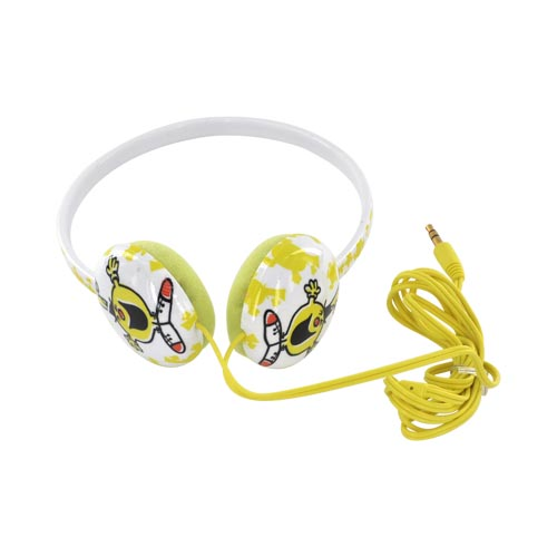 Original Mr. Men/ Little Miss Sunshine 3.5mm Headphones, MML-601-MRF - Yellow Mr. Funny