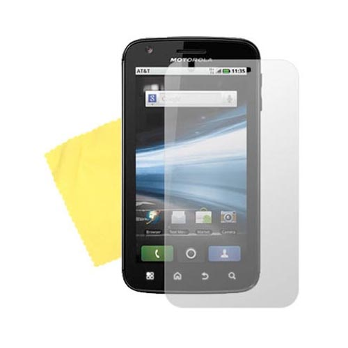 Motorola Atrix 4G Essential Frost White Skin Case, Screen Protector, Car and Travel Charger Bundle