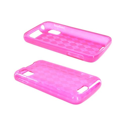 Motorola Atrix 4G Girly Argyle Pink Crystal Skin Case, Mirror Screen Protector and Plunger Stand Bundle