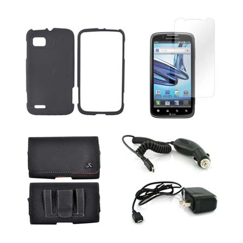 Motorola Atrix 2 Essential Bundle Package w/ Black Rubberized Hard Case, Screen Protector, Leather Pouch, Car & Travel Charger